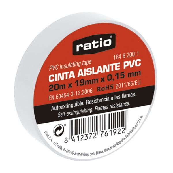 CINTA AISLANTE 19X20M BLANCA  0,15MM